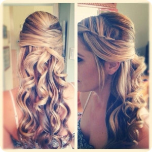highlight-braided-and-half-up-and-half-down-hairstyle-with-brown-ombre-human-hair-extensions